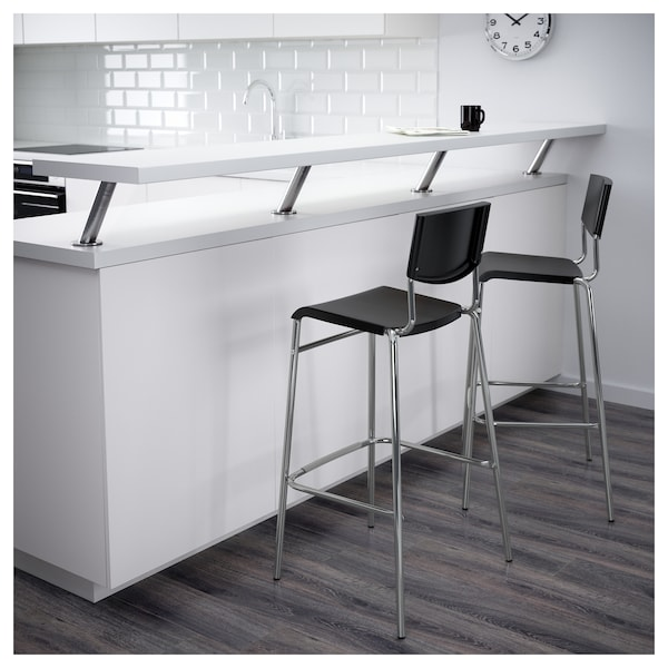 Bar stool with backrest STIG black, silver-colour