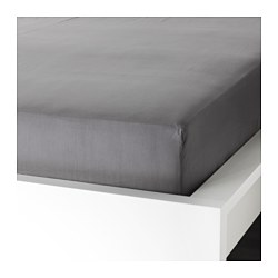 ULLVIDE fitted sheet, grey Thread count: 200 /inch² Length: 189 cm Width: 92 cm