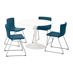 "DOCKSTA /  BERNHARD table and 4 chairs, blue, white Diameter: 41 3/8 "" Height: 29 3/8 "" Diameter: 105 cm Height: 75 cm"
