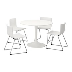 DOCKSTA / BERNHARD, Table and 4 chairs, white, white