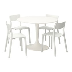 DOCKSTA / JANINGE, Table and 4 chairs, white, white