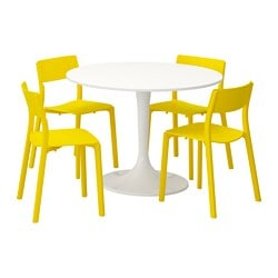 DOCKSTA / JANINGE, Table and 4 chairs, white, yellow