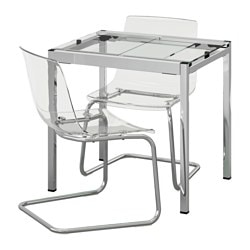 GLIVARP /  TOBIAS table and 2 chairs, transparent, chrome-plated transparent Length: 75 cm Max. length: 115 cm Width: 70 cm