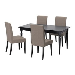 "INGATORP /  HENRIKSDAL table and 4 chairs, Nolhaga gray-beige, black Length: 61 "" Max. length: 84 5/8 "" Width: 34 1/4 "" Length: 155 cm Max. length: 215 cm Width: 87 cm"