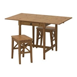 INGATORP /  INGOLF table and 2 stools, antique stain