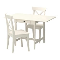 INGATORP /  INGOLF table and 2 chairs, white Length: 88 cm Min. length: 59 cm Max. length: 117 cm