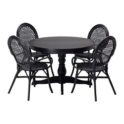 "INGATORP /  ÄLMSTA table and 4 chairs, rattan black, black Length: 61 "" Diameter: 43 1/4 "" Height: 29 1/8 "" Length: 155 cm Diameter: 110 cm Height: 74 cm"