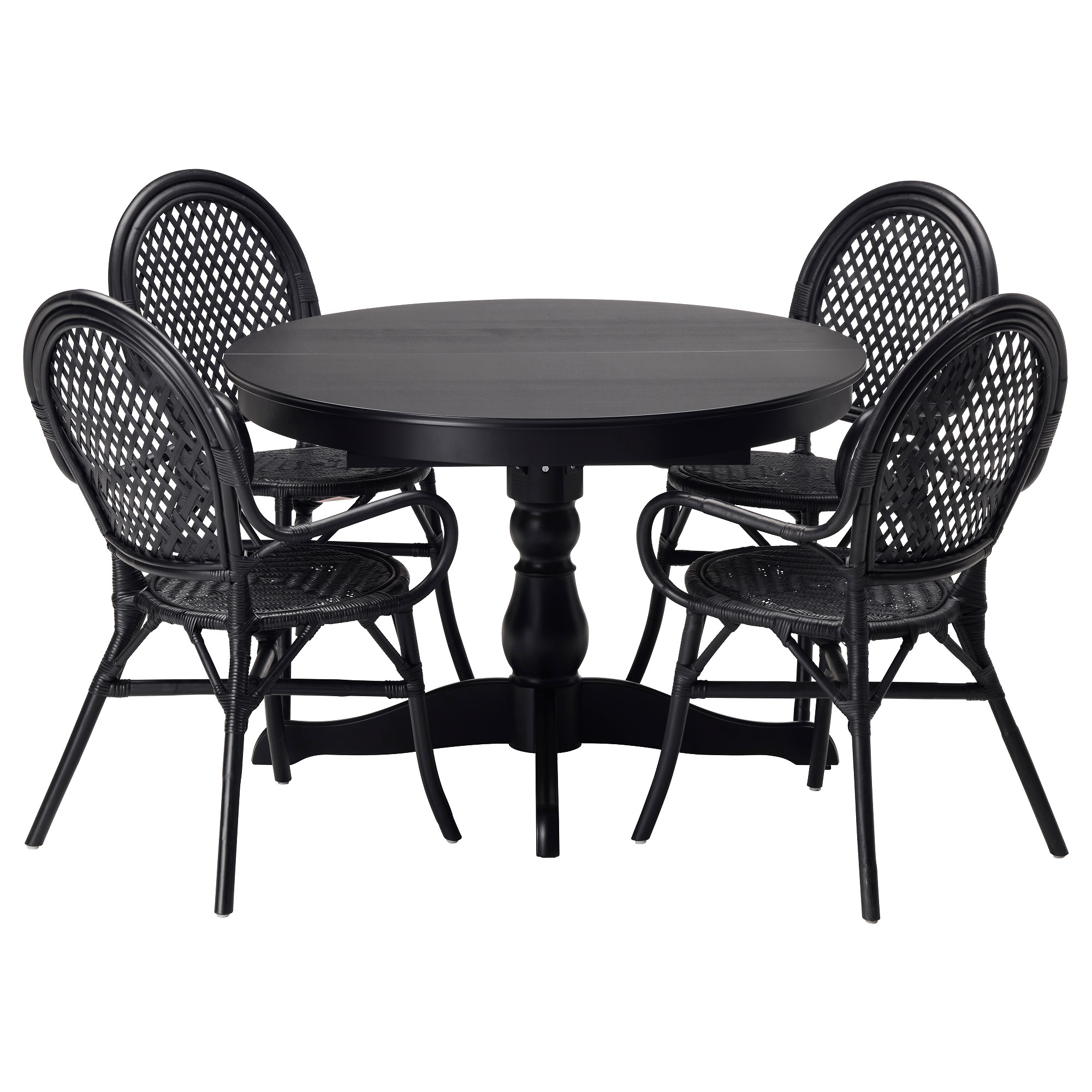 Black and white dining room sets - Ingatorp Lmsta Table And 4 Chairs Black Rattan Black Length 61
