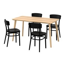 LISABO / IDOLF table and 4 chairs, black, ash veneer Length: 140 cm Width: 78 cm Height: 74 cm