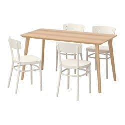 LISABO / IDOLF table and 4 chairs, white, ash veneer Length: 140 cm Width: 78 cm Height: 74 cm