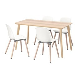 "LISABO /  LEIFARNE table and 4 chairs, white, ash veneer Length: 55 1/8 "" Width: 30 3/4 "" Height: 29 1/8 "" Length: 140 cm Width: 78 cm Height: 74 cm"
