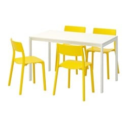 "MELLTORP /  JANINGE table and 4 chairs, yellow, white Length: 49 1/4 "" Width: 29 1/2 "" Height: 28 3/8 "" Length: 125 cm Width: 75 cm Height: 72 cm"
