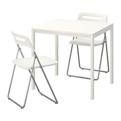 MELLTORP / NISSE, Table and 2 folding chairs, white, white