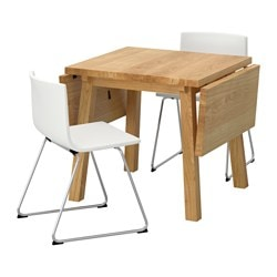 MÖCKELBY /  BERNHARD table and 2 chairs, oak, white Length: 114 cm Min. length: 79 cm Max. length: 150 cm