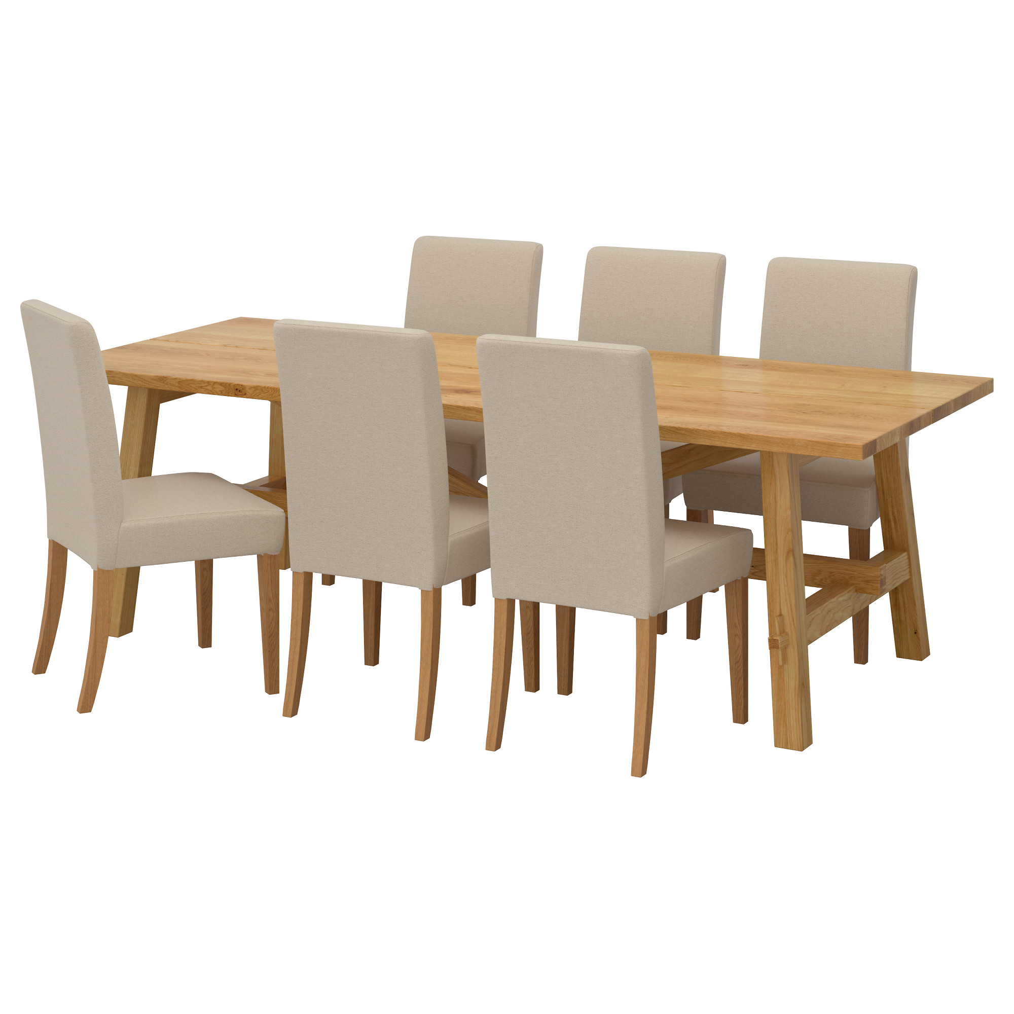 Lovely MÖCKELBY / HENRIKSDAL Table And 6 Chairs, Oak, Linneryd Natural Length: 92 1 Part 27