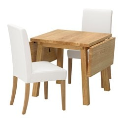 "MÖCKELBY /  HENRIKSDAL table and 2 chairs, oak, Gräsbo white Length: 44 7/8 "" Min. length: 31 1/8 "" Max. length: 59 "" Length: 114 cm Min. length: 79 cm Max. length: 150 cm"