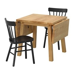 "MÖCKELBY /  NORRARYD table and 2 chairs, oak, black Length: 44 7/8 "" Min. length: 31 1/8 "" Max. length: 59 "" Length: 114 cm Min. length: 79 cm Max. length: 150 cm"