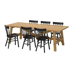 "MÖCKELBY /  NORRARYD table and 6 chairs, oak, black Length: 92 1/2 "" Width: 39 3/8 "" Height: 29 1/8 "" Length: 235 cm Width: 100 cm Height: 74 cm"