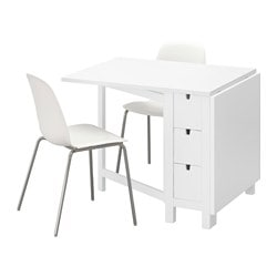 NORDEN /  LEIFARNE table and 2 chairs, white, white chrome-plated Length: 89 cm Min. length: 26 cm Max. length: 152 cm