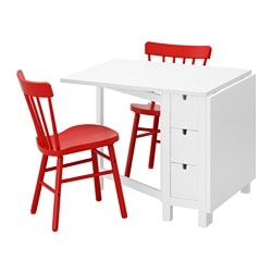 "NORDEN /  NORRARYD table and 2 chairs, white, red Length: 35 "" Min. length: 10 1/4 "" Max. length: 59 7/8 "" Length: 89 cm Min. length: 26 cm Max. length: 152 cm"