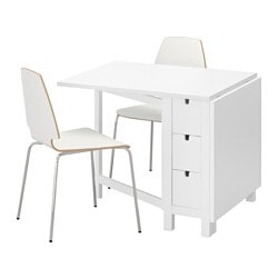 "NORDEN /  VILMAR table and 2 chairs, white, white Length: 35 "" Min. length: 10 1/4 "" Max. length: 59 7/8 "" Length: 89 cm Min. length: 26 cm Max. length: 152 cm"