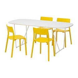 "OPPEBY/ BACKARYD /  JANINGE table and 4 chairs, yellow, white Length: 72 7/8 "" Width: 35 3/8 "" Height: 28 "" Length: 185 cm Width: 90 cm Height: 71 cm"