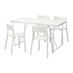 "RYDEBÄCK/ BACKARYD /  JANINGE table and 4 chairs, white, white Length: 59 "" Width: 30 3/4 "" Height: 29 3/8 "" Length: 150 cm Width: 78 cm Height: 75 cm"