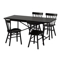 "RYGGESTAD/ KARPALUND /  NORRARYD table and 4 chairs, black, black Length: 66 7/8 "" Width: 30 3/4 "" Height: 29 3/8 "" Length: 170 cm Width: 78 cm Height: 75 cm"