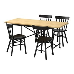 RYGGESTAD/ KARPALUND /  NORRARYD table and 4 chairs, black, pine Length: 170 cm Width: 78 cm Height: 75 cm