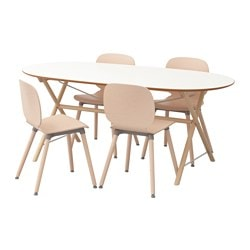 "SLÄHULT/ DALSHULT /  SVENBERTIL table and 4 chairs, birch, birch white Length: 72 7/8 "" Width: 35 3/8 "" Height: 28 3/4 "" Length: 185 cm Width: 90 cm Height: 73 cm"