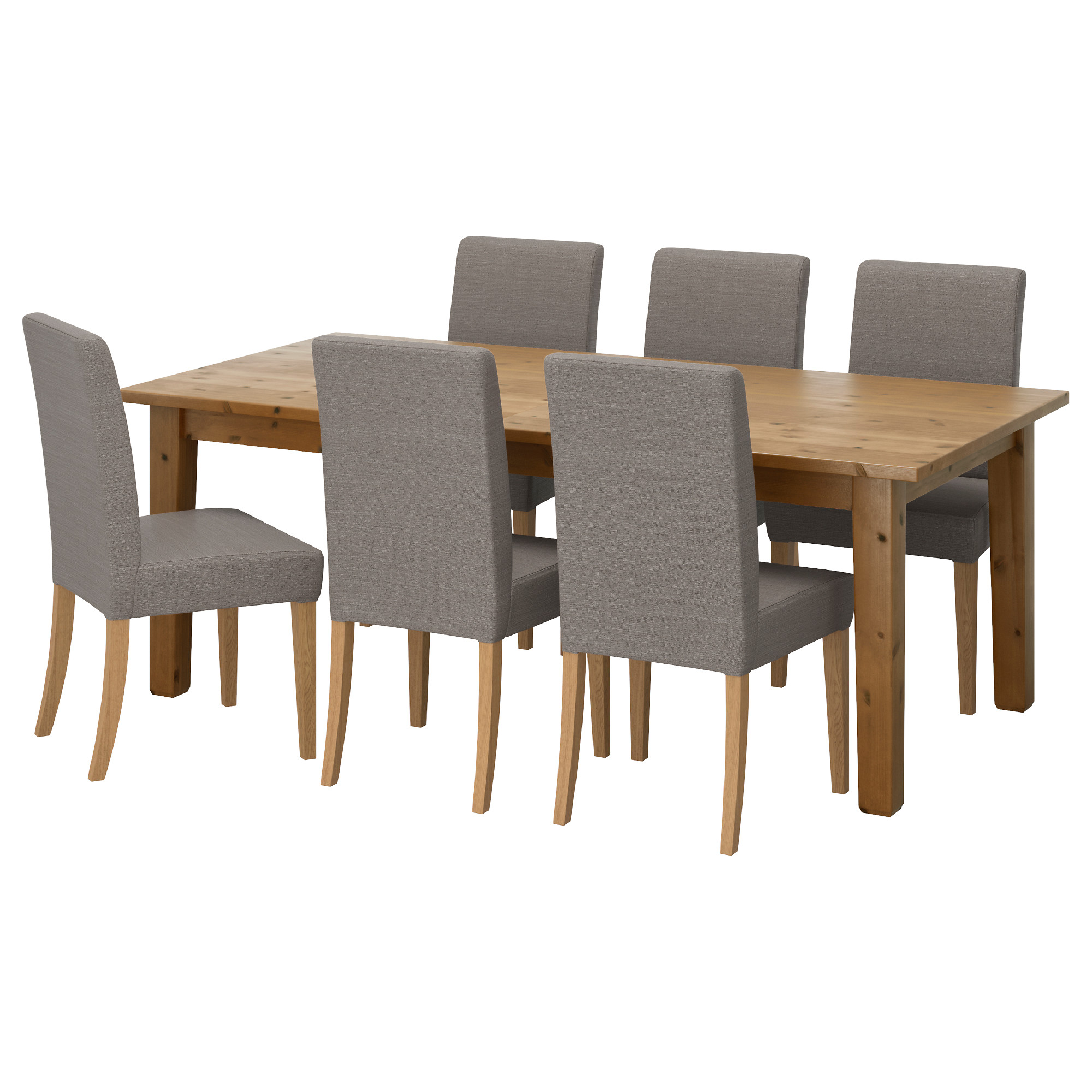 Dining table with chairs - Storn S Henriksdal Table And 6 Chairs Antique Stain Nolhaga Gray Beige Length