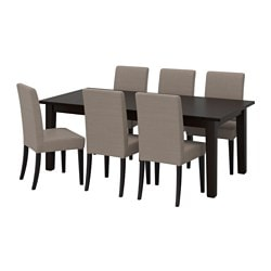 STORNÄS /  HENRIKSDAL table and 6 chairs, brown-black, Nolhaga grey-beige Length: 247 cm Min. length: 201 cm Max. length: 293 cm