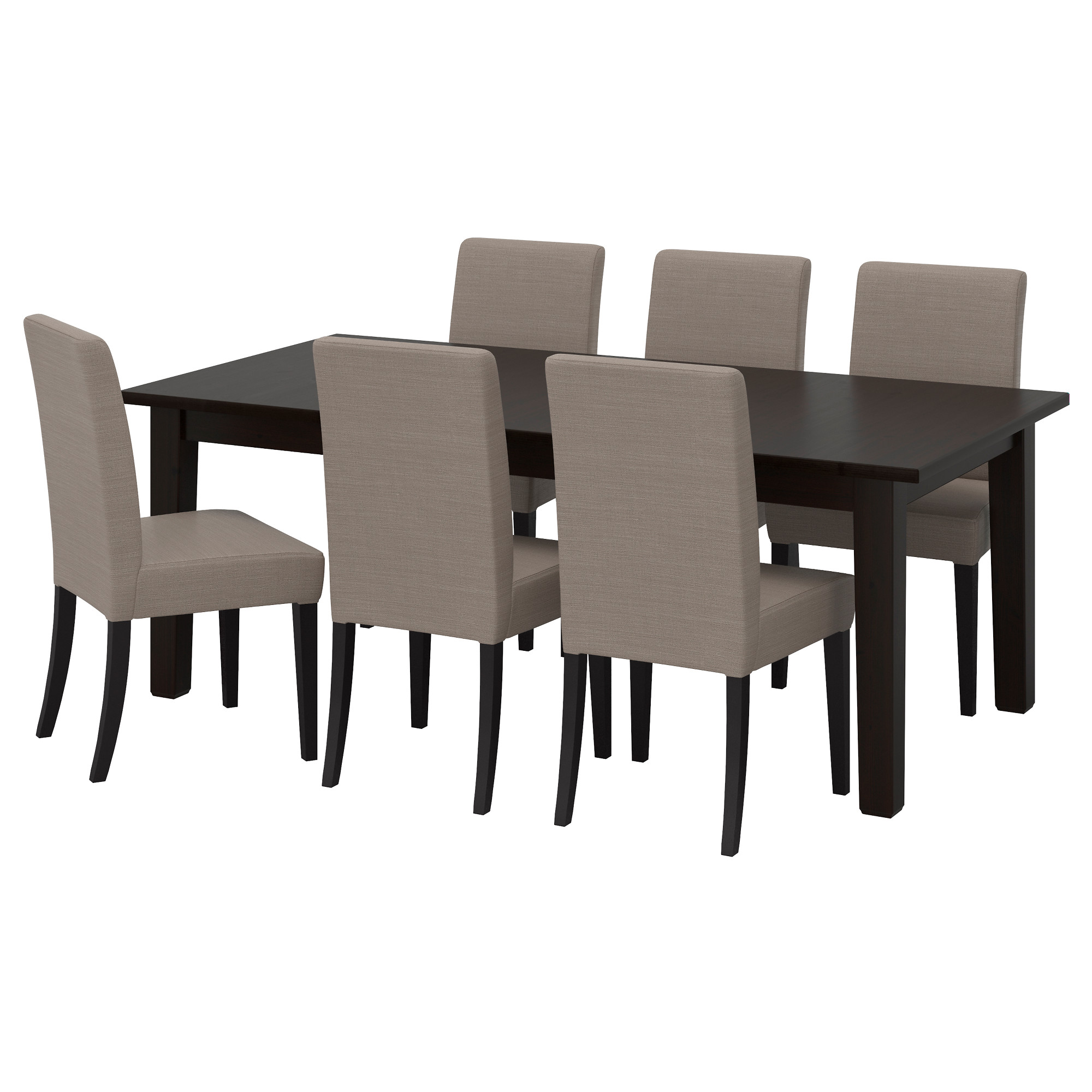 STORNÄS / HENRIKSDAL Table And 6 Chairs, Brown Black, Nolhaga Gray Beige