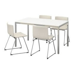 TORSBY /  BERNHARD table et 4 chaises, Kavat blanc, brillant blanc Longueur table: 135 cm Largeur table: 85 cm Hauteur table: 73 cm