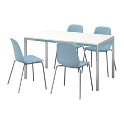 "TORSBY /  LEIFARNE table and 4 chairs, high gloss white, light blue Table length: 53 1/8 "" Width: 33 1/2 "" Height: 28 3/4 "" Table length: 135 cm Width: 85 cm Height: 73 cm"