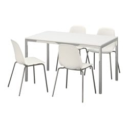 TORSBY / LEIFARNE, Table and 4 chairs, high gloss white, white