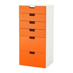 STUVA storage combination with drawers, white, orange Width: 60 cm Depth: 50 cm Height: 128 cm