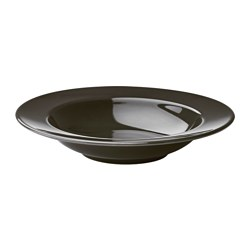 VARDAGEN deep plate, dark grey Diameter: 23 cm