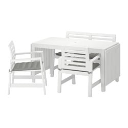 ÄPPLARÖ table+2 chrsw armr+ bench, outdoor, Hållö grey, white