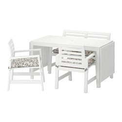 ÄPPLARÖ table, 2 armchairs + bench, outdoor, white, Stegön beige