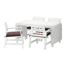 ÄPPLARÖ table+4 chairs w armrests, outdoor, Stegön beige, white
