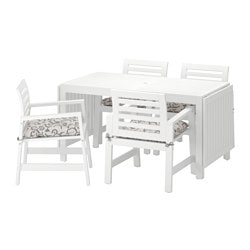 ÄPPLARÖ table+4 chairs w armrests, outdoor, white, Stegön beige