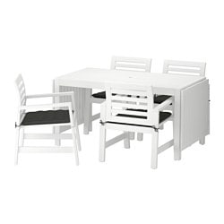 ÄPPLARÖ table and 4 armchairs, outdoor, white, Hållö black