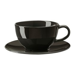 "VARDAGEN teacup and saucer, dark gray Saucer diameter: 6 ¼ "" Total height: 2 ¾ "" Cup height: 2 ¼ "" Saucer diameter: 16 cm Total height: 7 cm Cup height: 6 cm"