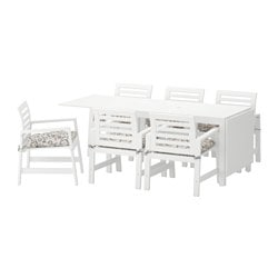 ÄPPLARÖ table+6 armchairs, outdoor, white, Stegön beige