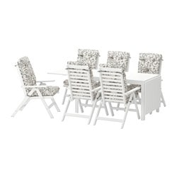ÄPPLARÖ table + 6 reclining chairs, outdoor, white, Stegön beige