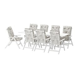 ÄPPLARÖ table+8 reclining chairs, outdoor, Stegön beige, white