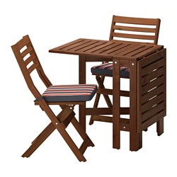 ÄPPLARÖ table+2 folding chairs, outdoor, Ekerön black, brown stained