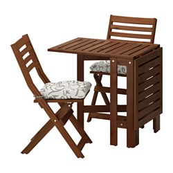 ÄPPLARÖ table and 2 folding chairs, outdoor, brown stained, Stegön beige
