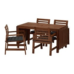 ÄPPLARÖ table+4 chairs w armrests, outdoor, Hållö black, brown stained